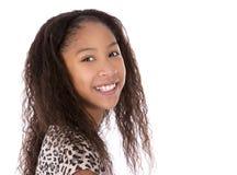 Этническая девушка на белой предпосылке Стоковые Изображения RF