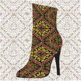 этническая женщина ботинка иллюстрация вектора