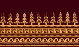 этническая картина безшовная Пшеница, меандр, и символы воды Стоковое Изображение