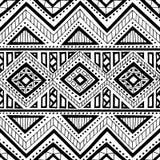 этническая картина безшовная Чернила орнамента нарисованные вручную Племенные мотивы Стоковое Фото