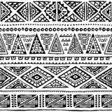 этническая картина безшовная Чернила орнамента нарисованные вручную Племенные мотивы Стоковая Фотография RF