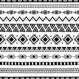 этническая картина безшовная handmade Горизонтальные нашивки Черно-и Стоковое Изображение