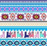 Этническая картина ткани с ламами в голубых цветах иллюстрация штока