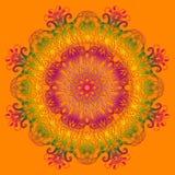 Этническая мандала градиента на оранжевой предпосылке Стоковые Фото