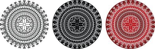 Этническая мандала с геометрическим солнцем sumbol для книжка-раскраски Круглая картина с толстым контуром бесплатная иллюстрация