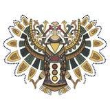 Этническая птица с красивыми картинами в графическом стиле Вектор i Стоковые Изображения