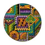 Этническая племенная картина в круге Мандала мозаики абстрактный вектор предпосылки Стоковое фото RF