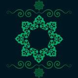 Этническая флористическая безшовная картина в зеленом цвете Абстрактный орнаментальный фон Стоковая Фотография RF