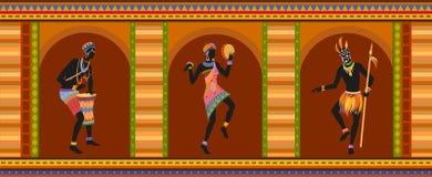 Этнические люди африканца танца иллюстрация штока