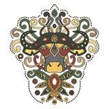 Этнический африканский буйвол в графическом стиле также вектор иллюстрации притяжки corel Стоковое Изображение RF