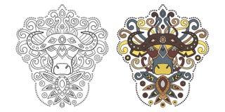 Этнический бык в графическом стиле Иллюстрация вектора для colori Стоковые Изображения RF