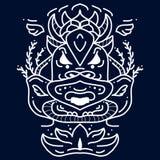 Этнический значок маски Белая племенная маска Татуировка стороны племенная Стоковые Фотографии RF