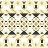 Этнический индийский геометрический золотой дизайн картины Стоковое Фото