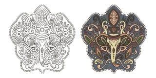 Этнический индийский слон в графическом стиле Иллюстрация вектора для Стоковые Изображения