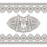 Этнический орнамент волка в графическом стиле Ани иллюстрации вектора Стоковая Фотография RF