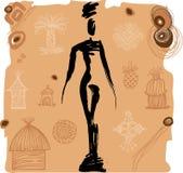 Этнический силуэт девушки Стоковое Изображение