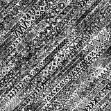 Этническое происхождение Grunge белизна черной картины безшовная Стоковое Изображение RF