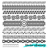 Этнической линия нарисованная рукой вектора комплект границы и scribble битника конструирует элемент Doodle тип Стоковые Изображения RF