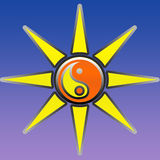 Yin yang символа и солнце Стоковая Фотография