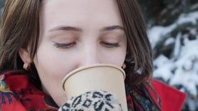Это видео о конце-вверх стороны девушки которая выпивает горячие чай или кофе в зиме на улице, она носит связанный mit сток-видео
