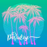 Это плакат рая, комплект розового силуэта пальм на голубой предпосылке Иллюстрация вектора, элемент дизайна для стоковые фотографии rf