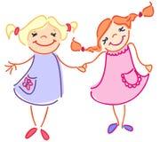 Это приятельство 2 девушок иллюстрация вектора