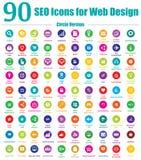 90 икон SEO для конструкции паутины - версии круга иллюстрация штока