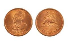 Эфиопская монетка изолированная на белизне Стоковая Фотография