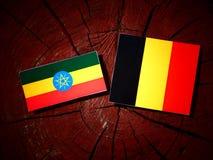 Эфиопский флаг с бельгийским флагом на изолированном пне дерева Стоковое Изображение RF