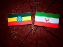 Эфиопский флаг с иранским флагом на изолированном пне дерева Стоковая Фотография