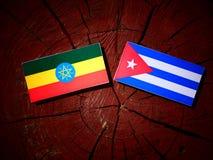 Эфиопский флаг с кубинським флагом на изолированном пне дерева Стоковая Фотография