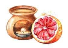 Эфирное масло грейпфрута и лампа ароматности Иллюстрация руки акварели вычерченная изолированная на белой предпосылке иллюстрация штока