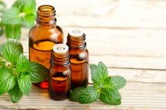 Эфирное масло и листья пипермента на деревянной доске Стоковые Изображения