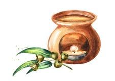 Эфирное масло эвкалипта и лампа ароматности Иллюстрация руки акварели вычерченная изолированная на белой предпосылке бесплатная иллюстрация