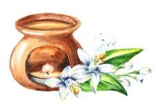 Эфирное масло Neroli и лампа ароматности Иллюстрация руки акварели вычерченная изолированная на белой предпосылке иллюстрация штока