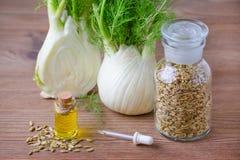 Эфирное масло фенхеля, шарик и семена, фокус пипетки селективный на деревянном Стоковые Изображения RF
