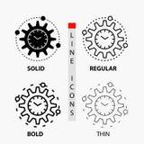 Эффективность, управление, обработка, урожайность, значок проекта в тонких, регулярных, смелых линии и стиле глифа r иллюстрация вектора
