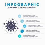 Эффективность, управление, обработка, урожайность, шаблон Infographics проекта для вебсайта и представление Значок глифа серый с иллюстрация штока