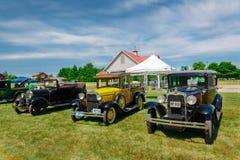 Эффектная выставка автомобиля в парке наследия страны, изумительное вид спереди классических винтажных автомобилей Стоковое Фото