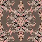 Эффектная демонстрация крыла картину черепицей ретро предпосылки флористическое Орнаментальная картина цветка иллюстрация вектора