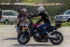 Эффектные выступления мотоцикла, выставка в MTS Szczecin Стоковые Фотографии RF