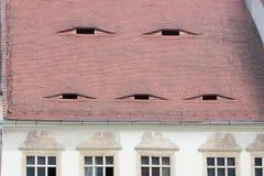 Эффектные румынские крыши с глазами в Трансильвании Стоковая Фотография