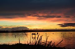 эффектный заход солнца Стоковая Фотография