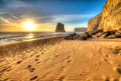 Эффектный пляж на шагах Гибсона захода солнца Стоковое Фото