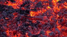Эффектный удовлетворяя конец вверх по взгляду на угле накаляя с красочным оранжевым светом в камине пламени костра швырка видеоматериал