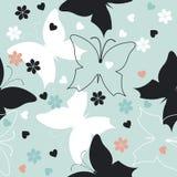Элегантная безшовная картина с милыми бабочками, цветками и слышит иллюстрация вектора