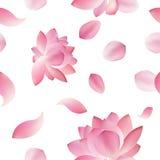 Элегантная безшовная картина с цветками лотоса, элементами дизайна Стоковые Изображения RF