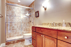 Элегантная ванная комната с стеклянным ливнем двери Стоковые Фотографии RF