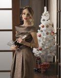 Элегантная девушка в празднике рождества Стоковые Изображения RF
