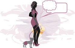 Элегантная женщина с маленькой собакой иллюстрация вектора
